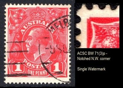 Australia- KGV 1d Red Variety 'Notched NW Corner' BW 71(3)p Single Wmk (Ref:298)