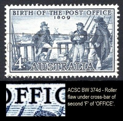 1959 4d Post Office Anniv. Variety 'Roller Flaw on 'F'' BW 374d  (Ref: 305)
