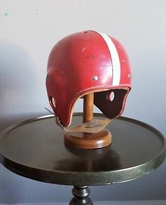 VINTAGE Hutch Red Leather Football Helmet Red