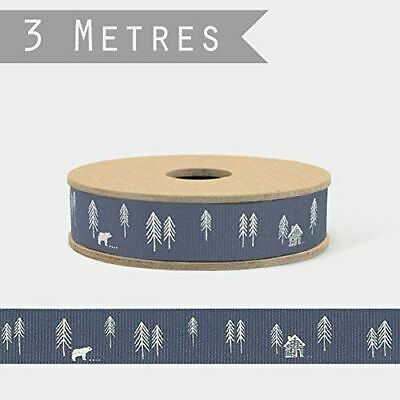 East of India Blue Grey Forest Ribbon 3m Reel Craft Xmas Wrapping