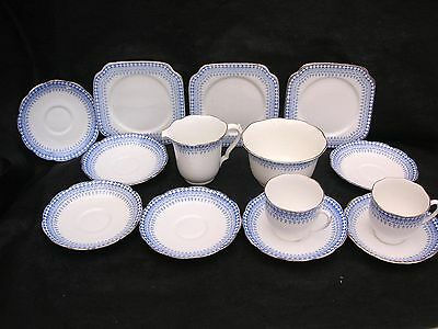 14 piece vintage part tea set white with blue detail
