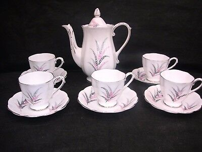 Vintage,royal Standard,lovely 'fernlea' Part Coffee Set,footed Cups,