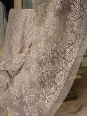 Long wide length unused 1920s French embroidered tulle lingerie lace - 8 metres