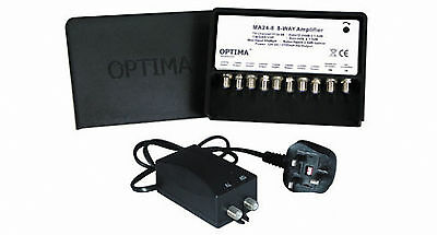 Optima 8 Way TV Aerial Masthead Amplifier Variable Gain Booster Kit