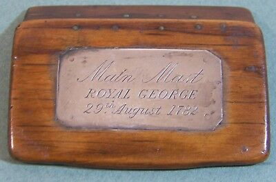 1782,HMS Royal George, Royal Navy, wood from main mast,w/silver plaque