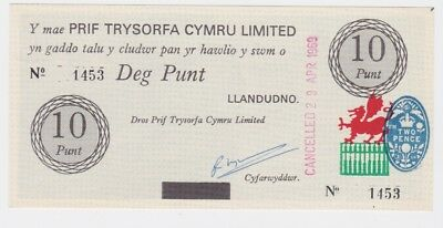 Chief Treasury of Wales Ten Pounds, Deg Punt, Banknote. 1969, No.1453. Very Rare