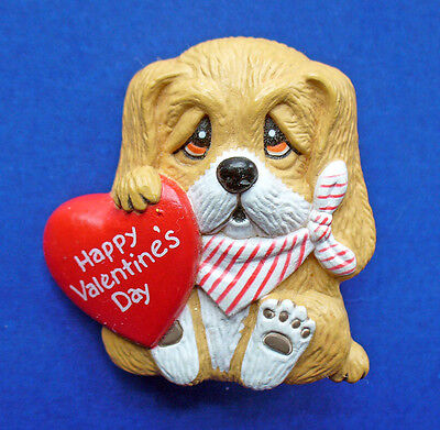 BUY1&GET1@50%~EnescoPIN Valentines MORGAN DOG  BASSET HOUNDw HEART Vtg