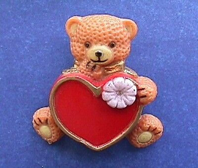 BUY1&GET1@50%~PIN Valentines BEAR TEDDY Lrg RED HEART Pink Flower Vtg Brooch