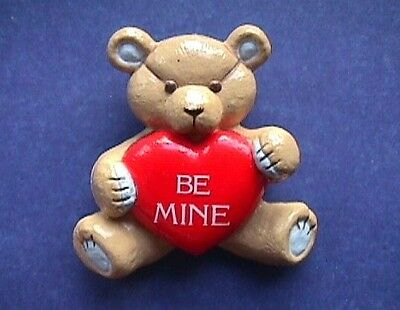 BUY1&GET1@50%~Gibson PIN Valentines BEAR TEDDY Hugglesbie Be Mine HEART Vtg