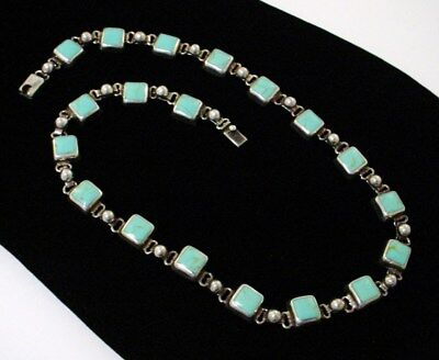 Vintage Sterling Silver 925 Mexico Turquoise Bead Link Necklace Choker 65 Grams
