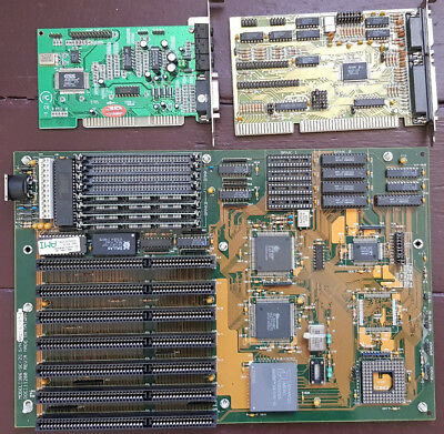 LEO 386 Mainboard + AMD 386 DX-40 MHz + 4 MB RAM + Cache + Controller + Soundk.