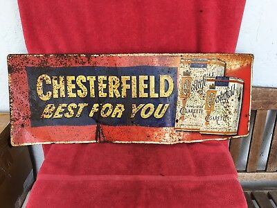 Original Vintage 1950's Chesterfield Cigarettes Tobacco Embossed Metal Sign