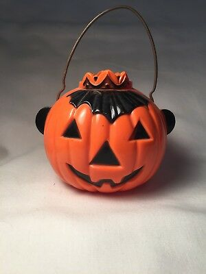 Vintage Halloween Hard Plastic Jack o' Lantern Pumpkin Candy Container w/ Crown