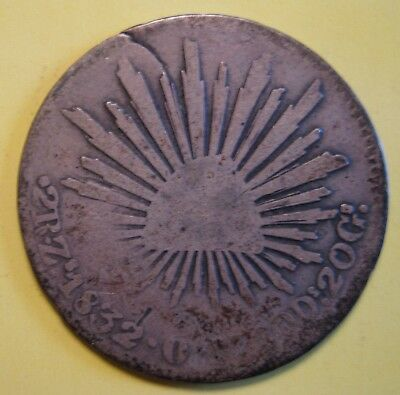 Mexico 2 Reales 1832 First Republic SILVER