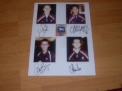 signed A4 sheet card by 4 ex  ipswich town footballers with pictures of each pla