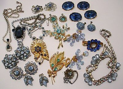 Vintage Blue Rhinestone Mixed Jewelry Lot Earrings Necklace Brooches Signed