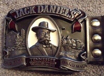 Jack Daniels Tennessee Whiskey 1989 Metal Buckle With Leather Belt With Studs