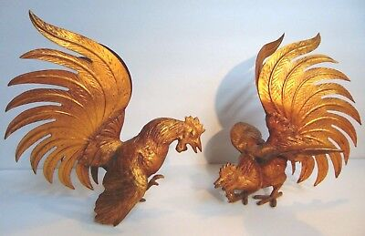 Antique Pair Cast Brass Fighting Roosters Cocks Mid-Century Japan Heavy Large