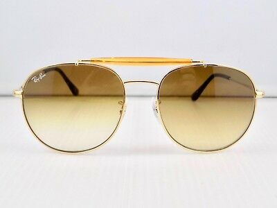 Ray Ban Round Double Bridge Outdoorsman Gradient RB3540 Aviator + Case