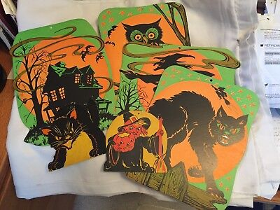Vtg Beistle  Black Cat,witch,owl Hanging Cardboard Decorations, Lot