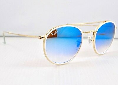 Ray Ban Round Double Bridge Mirror Gradient Outdoorsman RB3647N Aviator + Case