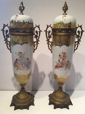 Pair Of Tall Antique French Porcelain Bronze Handpainted Urns Signed Ormolu