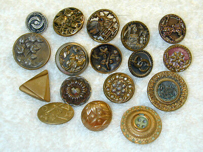 Antique Metal Brass Picture Buttons Lot of 17 Different  Cut Steel Shape  ++