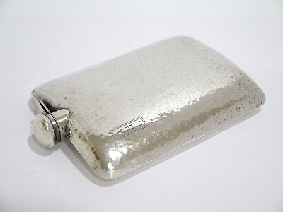 7 1/8 in - Sterling Silver Antique American Hammered Flask