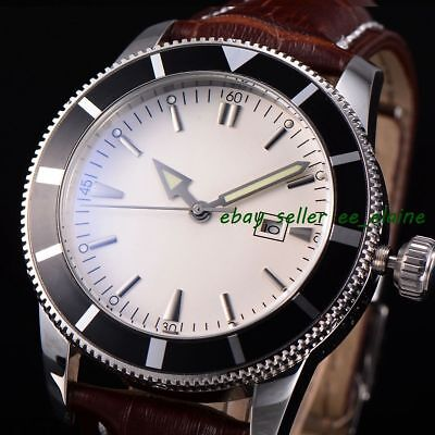 46mm White Sterile Dial Rotatable Bezel Leather Strap Mens Watches WBA4601SWBN02