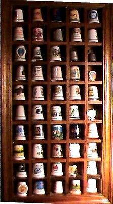 Estate Vintage  Thimble Collection With Wood Case 45 Thimbles