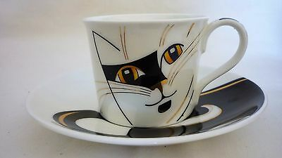 Dunoon bone china -small cup + saucer. Sophisticats CAT design by Anne Searle.