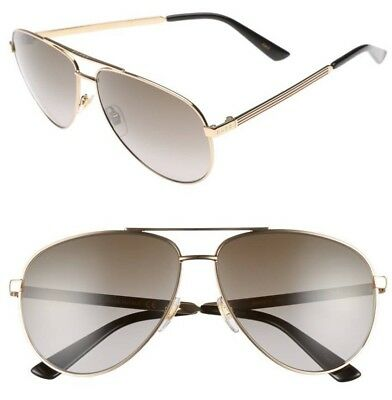 77d5ab9533 GUCCI Aviator Sunglasses GG 0237 S Metal Gold Brown Polarized 61mm