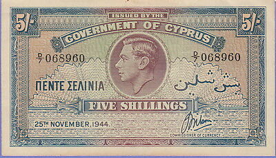 Cyprus-British,5 Shillings Banknote,25.11.1944,Choice Extra Fine Cat#22-8960