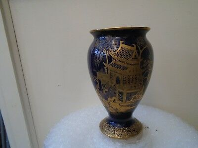 early carlton ware bristol blue vase with stunning oriental gold design  LOOK