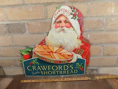 c1920's Crawford's Christmas Biscuit Santa Claus Advertising Card sign