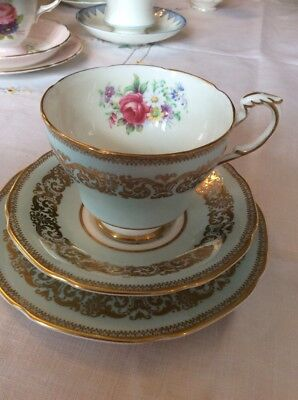 Vintage China Trio Paragon Double Warrented Duck Egg Blue/ Pink Florals Gold Gil
