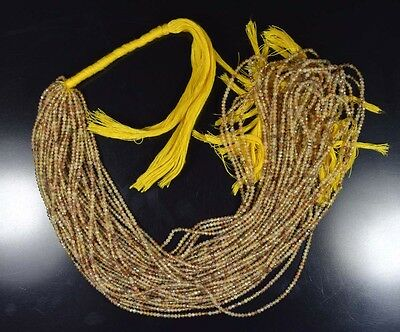 """2 Mm 13 """" 100%  Natural 10  Line Golden & Copper Rutile Untreated Beads Strand"""