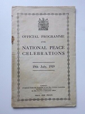 WWI official programme of NATIONAL PEACE CELEBRATIONS London 19/7/1919