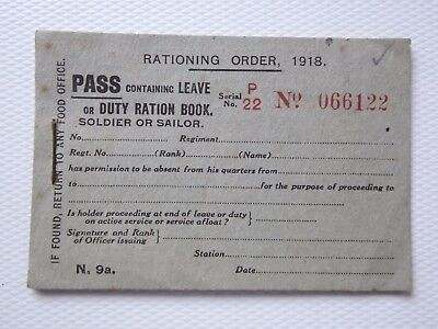 WWI unused PASS containing leave or duty RATION BOOK 1918