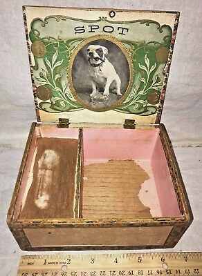Antique Wood Cigar Box Vintage Tobacco Spot Bulldog Smoking Vintage Dog Graphic