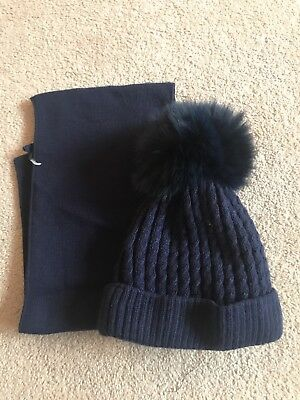 Boys Navy Pom Pom Hat and Scarf Set