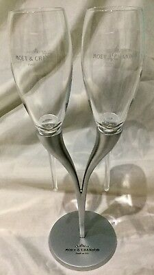 Moet & Chandon Double Stand with 2 Champagne Glasses / Flutes (French Design)