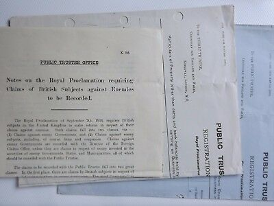WWI two statements BRITISH SUBJECTS INVESTMENTS in enemy country  c1916
