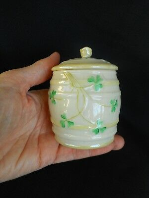 A Belleek Porcelain Preserve Pot / Lid Decorated With Shamrocks ~ Fine Condition