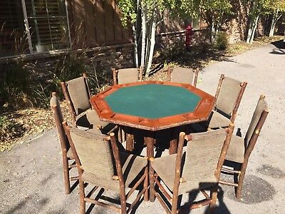 Old Hickory Poker Table with 8 Chairs