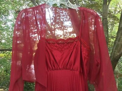 Custom Made Burgundy Silk And Chiffon Gown Vintage 80'S! New Never Worn