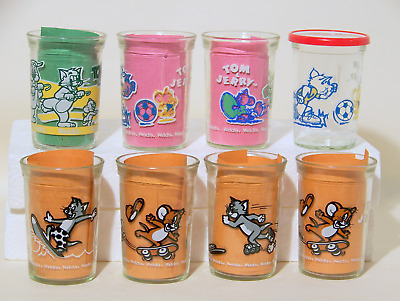 """8 Welch's Jelly Glasses TOM and JERRY cartoon characters  1990-1993  4"""" tall"""