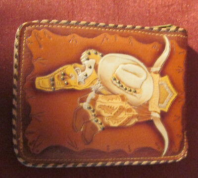 Vintage Boys WESTERN WALLET Never Used TOP GRAIN COWHIDE Bi-Fold ZIPPER 1950s