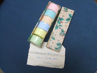 original vintage 1930s early plastic napkin rings gorgeous pastel colours,in box
