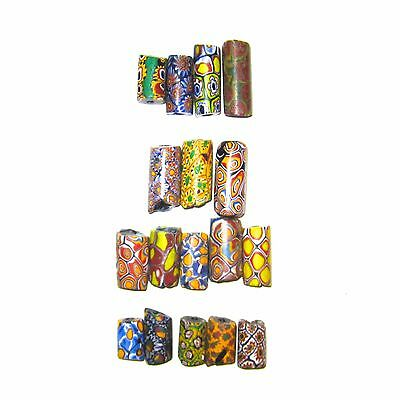 17 Large African Trade Beads Venetian Millefiori, Eye Beads Antique Not Perfect